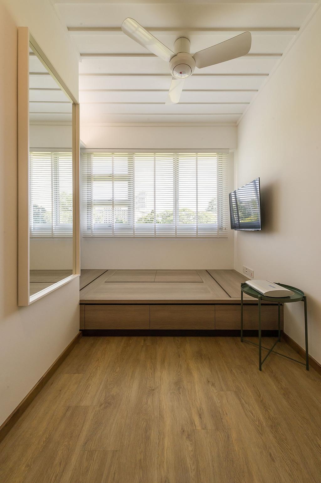 Scandinavian, HDB, Jalan Tenteram (Block 117B), Interior Designer, ELPIS Interior Design, Curtain, Home Decor, Window, Window Shade, Chair, Furniture