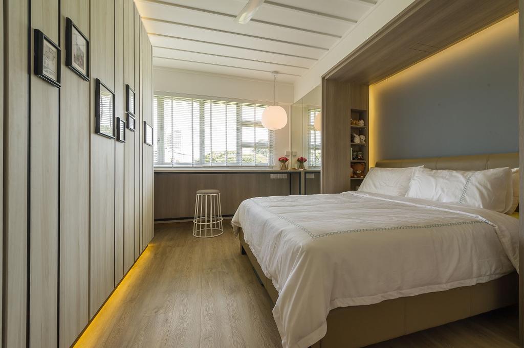 Scandinavian, HDB, Jalan Tenteram (Block 117B), Interior Designer, ELPIS Interior Design, Bar Stool, Furniture, Bed