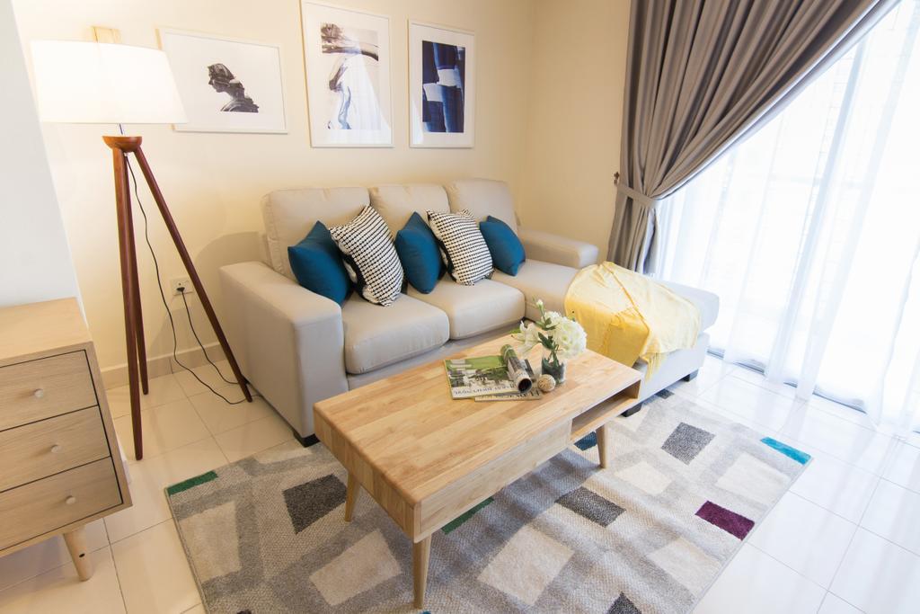 Scandinavian, Condo, Emerald Perdana, Interior Designer, Roomia, Couch, Furniture, Apartment, Building, Housing, Indoors