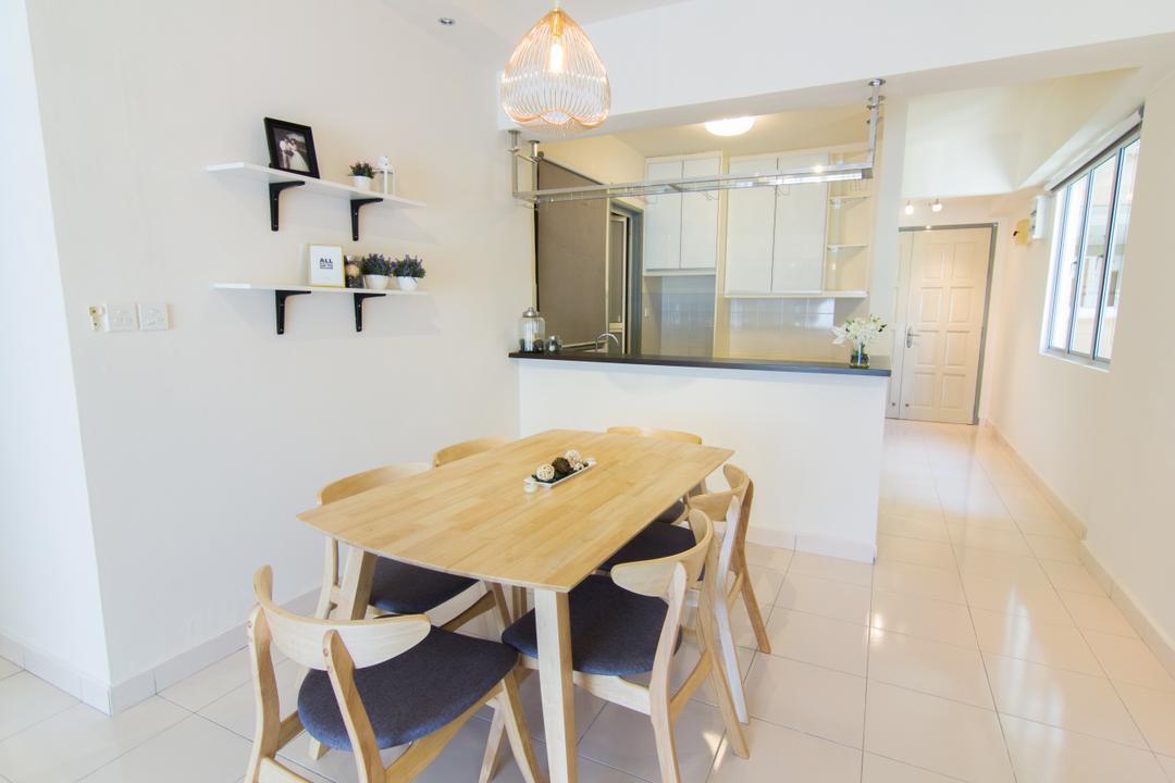 Emerald Perdana, Roomia, Scandinavian, Condo, Shelf, Dining Table, Furniture, Table, Chair, Dining Room, Indoors, Interior Design, Room, Flooring, Plywood, Wood