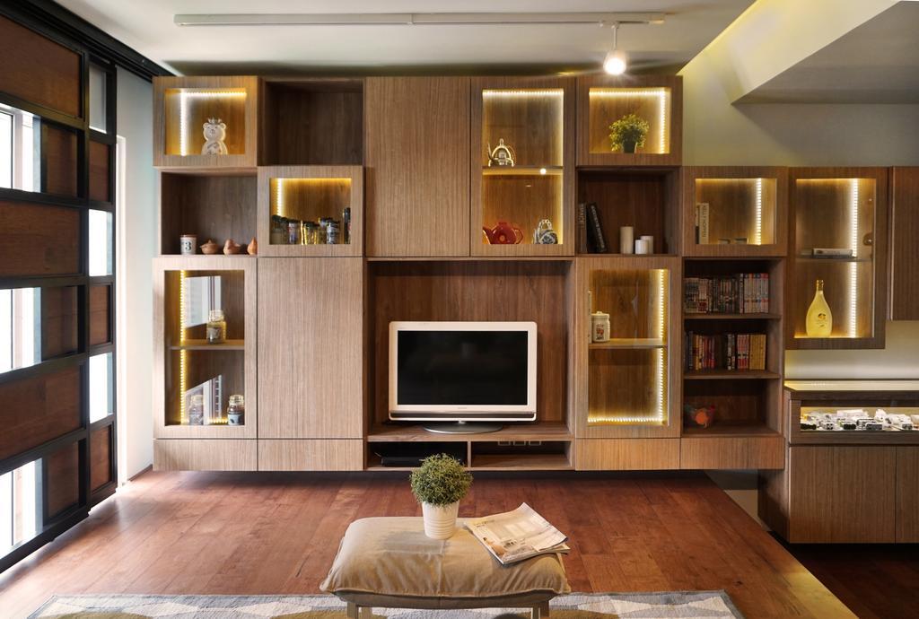 Modern, Condo, 7 Tree Seven Residence, Interior Designer, RK Interior Studio, Transitional, Electronics, Entertainment Center, Hardwood, Wood, Indoors, Interior Design