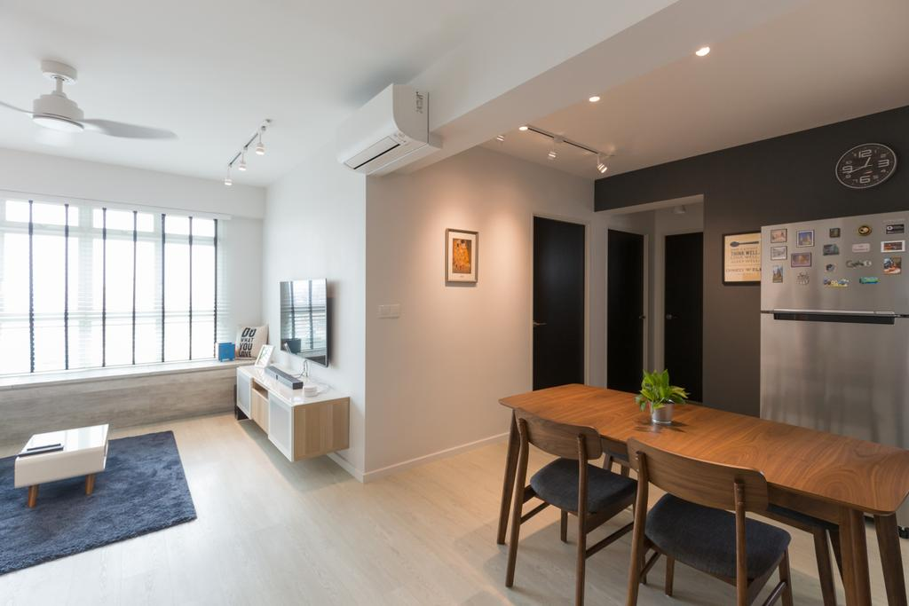 Scandinavian, HDB, Dining Room, Whampoa Dew, Interior Designer, D Initial Concept, Dining Table, Furniture, Table, Flooring, Indoors, Interior Design, Room, Chair