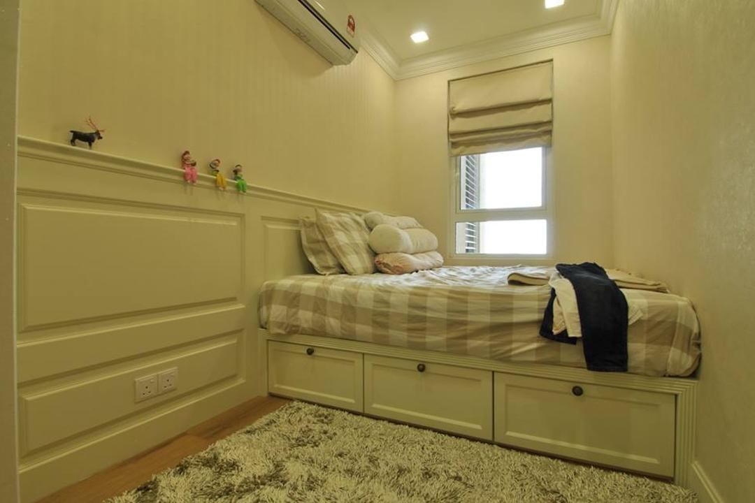 Quayside Condominium Type B, Grazioso Design, Contemporary, Bedroom, Condo, Luggage, Suitcase, Curtain, Home Decor, Window, Window Shade, Cloak, Clothing, Bed, Furniture, Indoors, Interior Design, Room