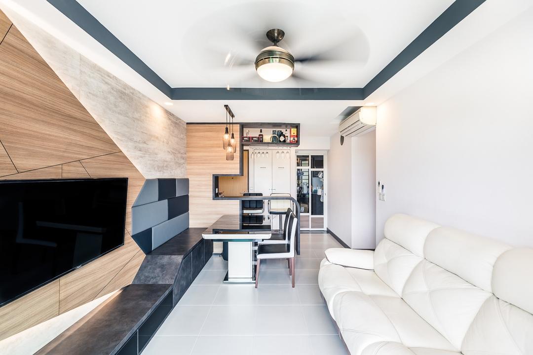 Skyville @ Dawson, Colourbox Interior, Contemporary, Living Room, HDB, Indoors, Interior Design, Lathe, Machine, Paper, Plywood, Wood