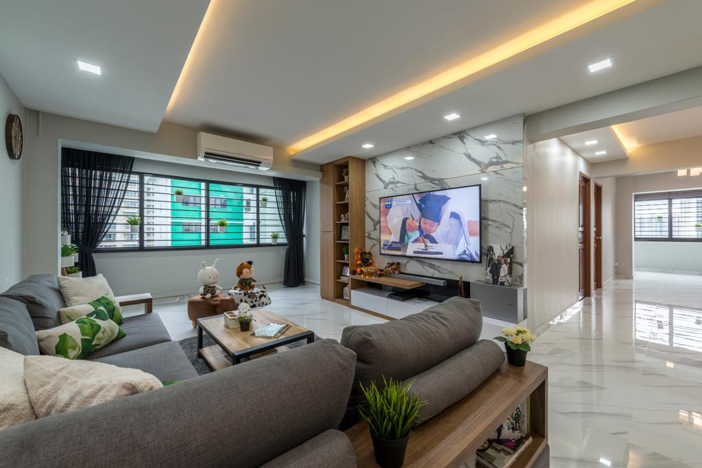 Modern, HDB, Living Room, Commonwealth Avenue West (Block 413), Interior Designer, ID Gallery Interior, Industrial, Couch, Furniture, Flora, Jar, Plant, Potted Plant, Pottery, Vase