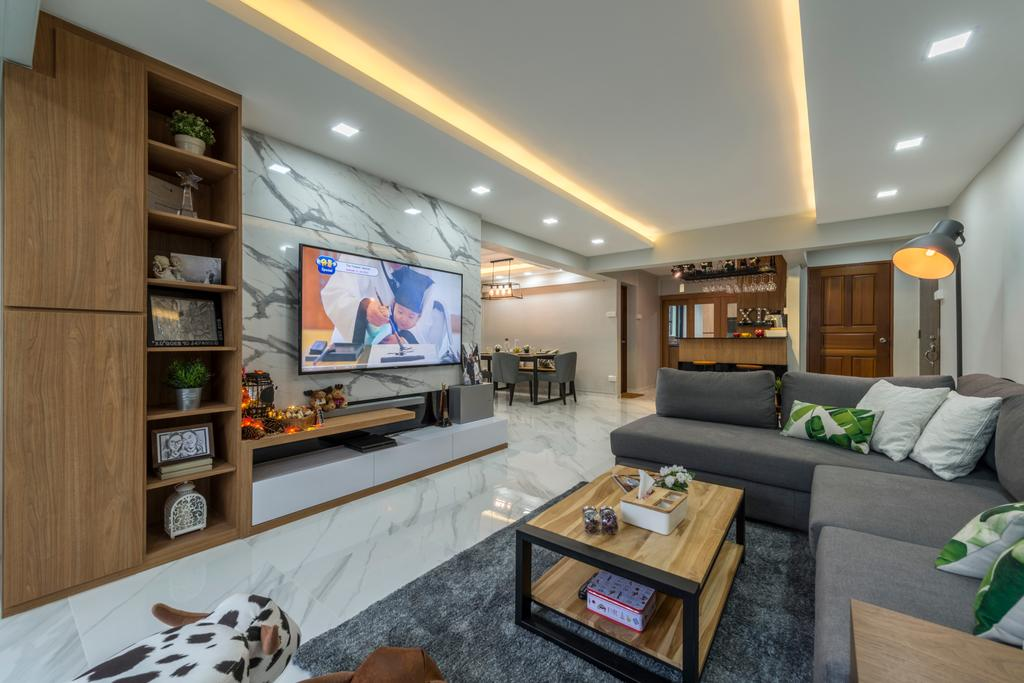 Modern, HDB, Living Room, Commonwealth Avenue West (Block 413), Interior Designer, ID Gallery Interior, Industrial, Couch, Furniture, Coffee Table, Table, Lighting