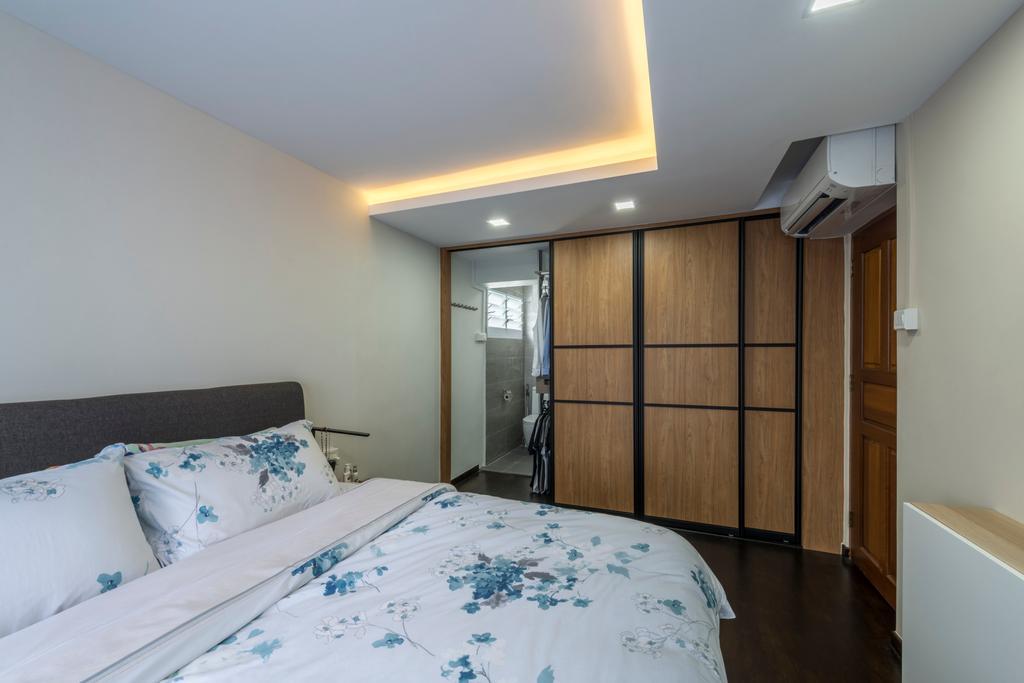 Modern, HDB, Bedroom, Commonwealth Avenue West (Block 413), Interior Designer, ID Gallery Interior, Industrial, Bed, Furniture, Indoors, Interior Design, Room