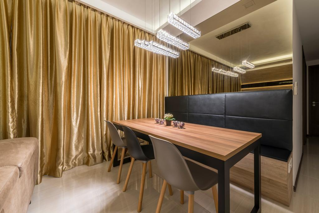 Minimalist, Condo, Dining Room, Woodlands, Interior Designer, ID Gallery Interior, Dining Table, Furniture, Table, Chair, Couch