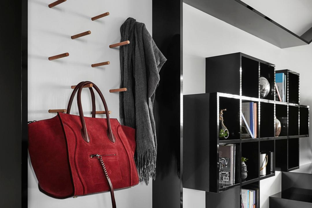 Eunos Road, Dan's Workshop, Modern, Contemporary, Living Room, HDB, Collage, Poster, Bag, Clothing, Coat
