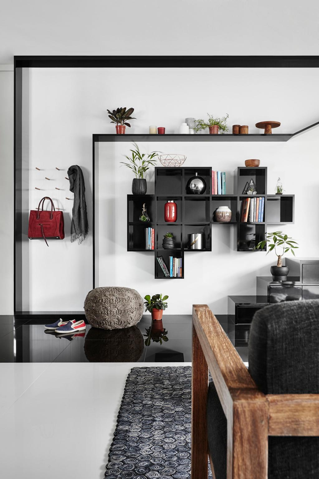 Modern, HDB, Living Room, Eunos Road, Interior Designer, Dan's Workshop, Contemporary, Flora, Jar, Plant, Potted Plant, Pottery, Vase, Collage, Poster, Hardwood, Stained Wood, Wood