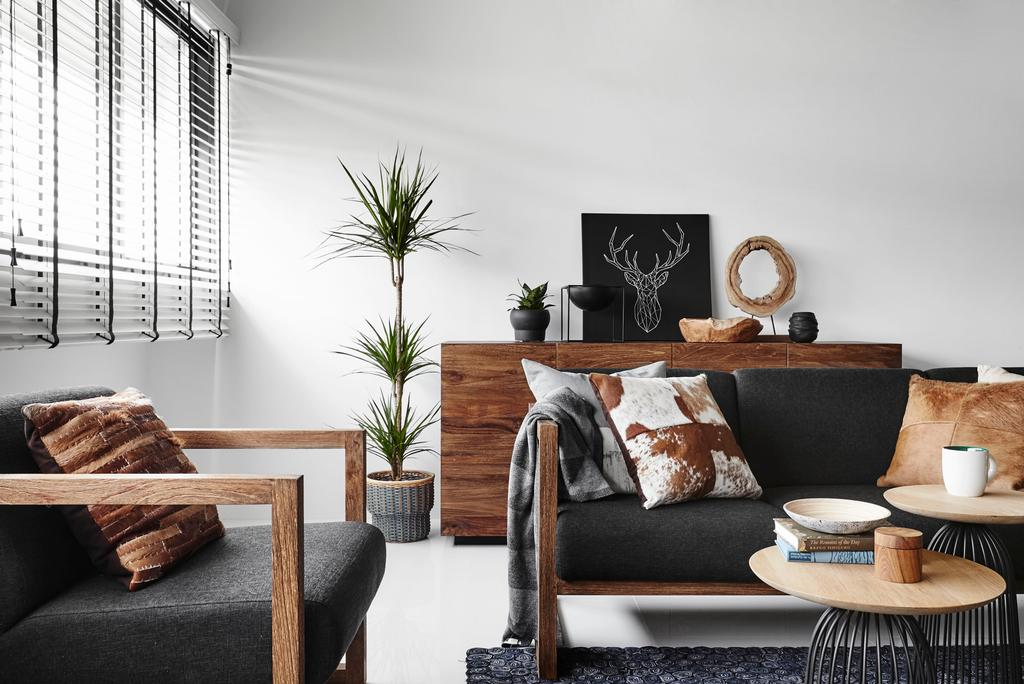 Modern, HDB, Living Room, Eunos Road, Interior Designer, Dan's Workshop, Contemporary, Couch, Furniture, Chair, Flora, Jar, Plant, Potted Plant, Pottery, Vase