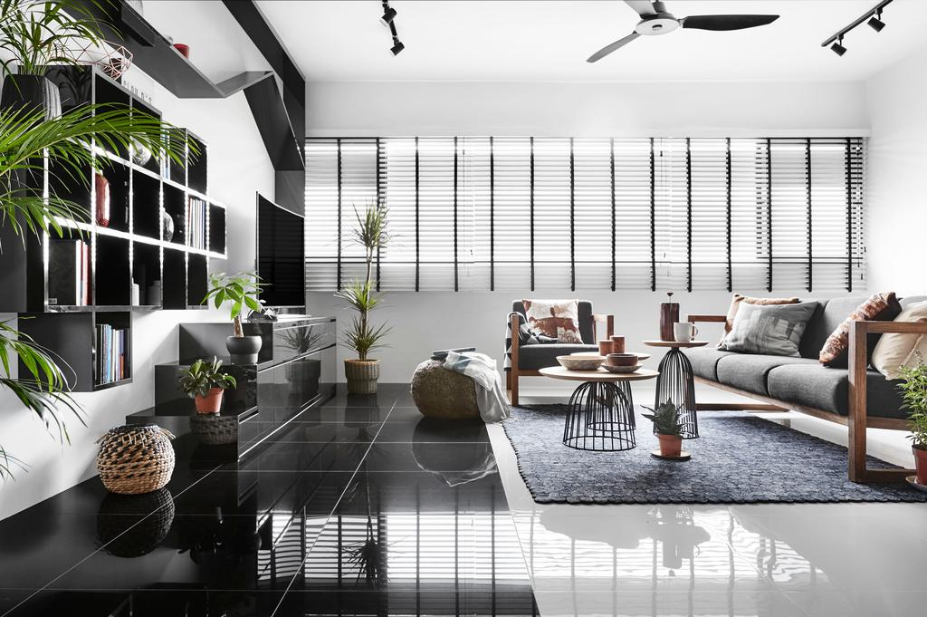 Modern, HDB, Living Room, Eunos Road, Interior Designer, Dan's Workshop, Contemporary, Flora, Jar, Plant, Potted Plant, Pottery, Vase, Building, Housing, Indoors, Loft, Couch, Furniture