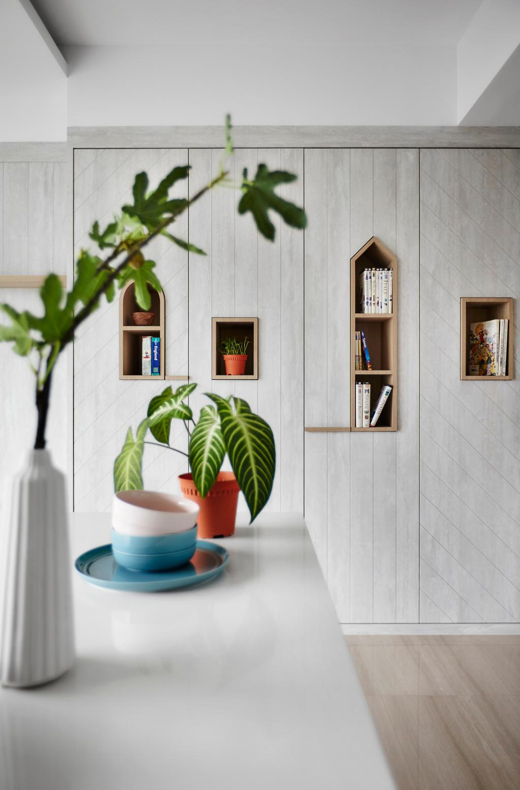 Scandinavian, Condo, Kitchen, Sliversea, Interior Designer, Dan's Workshop, Flora, Jar, Plant, Potted Plant, Pottery, Vase, Pot