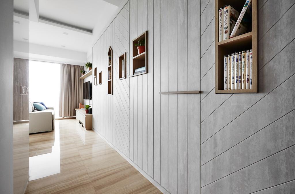 Scandinavian, Condo, Living Room, Sliversea, Interior Designer, Dan's Workshop, Book, Flooring