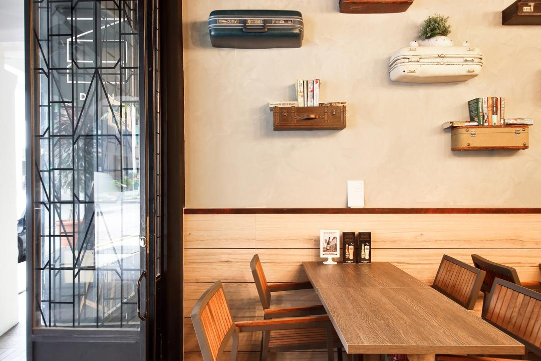 Boon Tat Street, Form & Space, Industrial, Commercial, Hardwood, Wood, Deck, Porch, Dining Room, Indoors, Interior Design, Room, Cafe, Restaurant, Dining Table, Furniture, Table