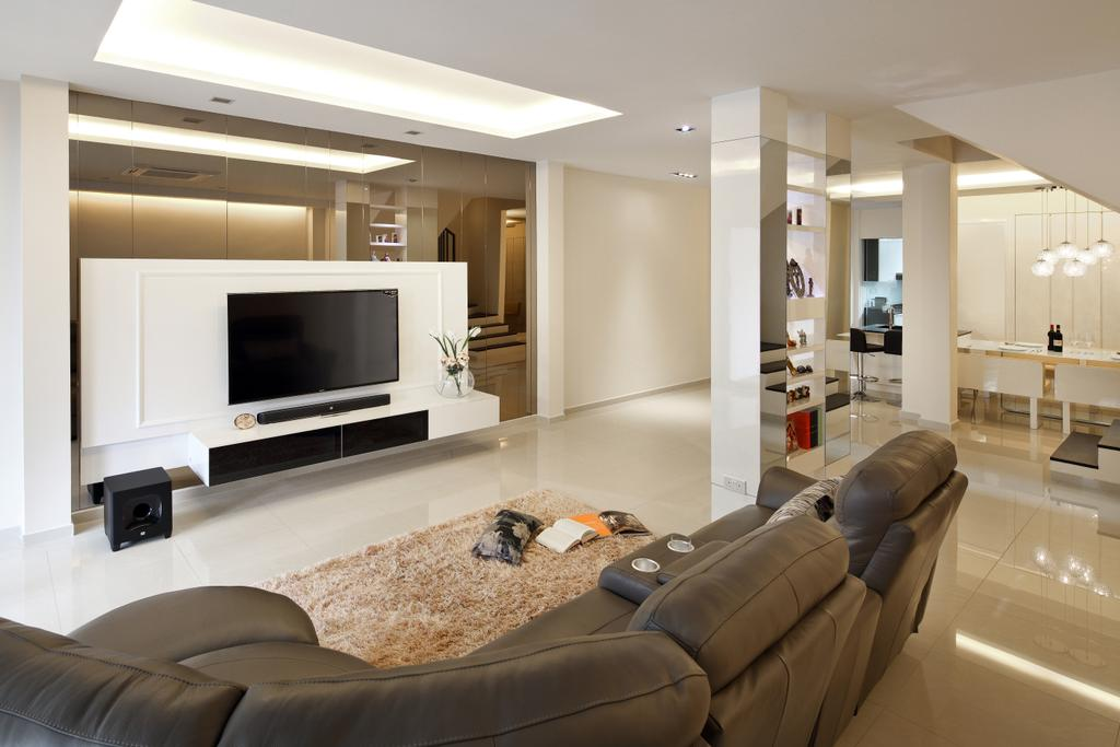 Minimalistic, Landed, Living Room, Lichi Avenue, Interior Designer, Form & Space, Couch, Furniture, Electronics, Entertainment Center, Home Theater, Indoors, Room