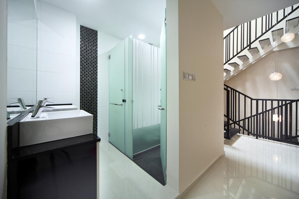 Minimalistic, Landed, Bathroom, Lichi Avenue, Interior Designer, Form & Space, Indoors, Interior Design, Room, Banister, Handrail, Corridor, Staircase