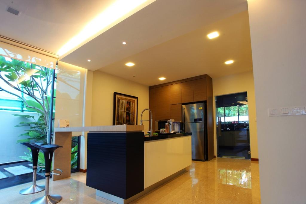 Transitional, Landed, Kitchen, Chu Lin Road, Interior Designer, Form & Space, Door, Sliding Door, Flora, Jar, Plant, Potted Plant, Pottery, Vase