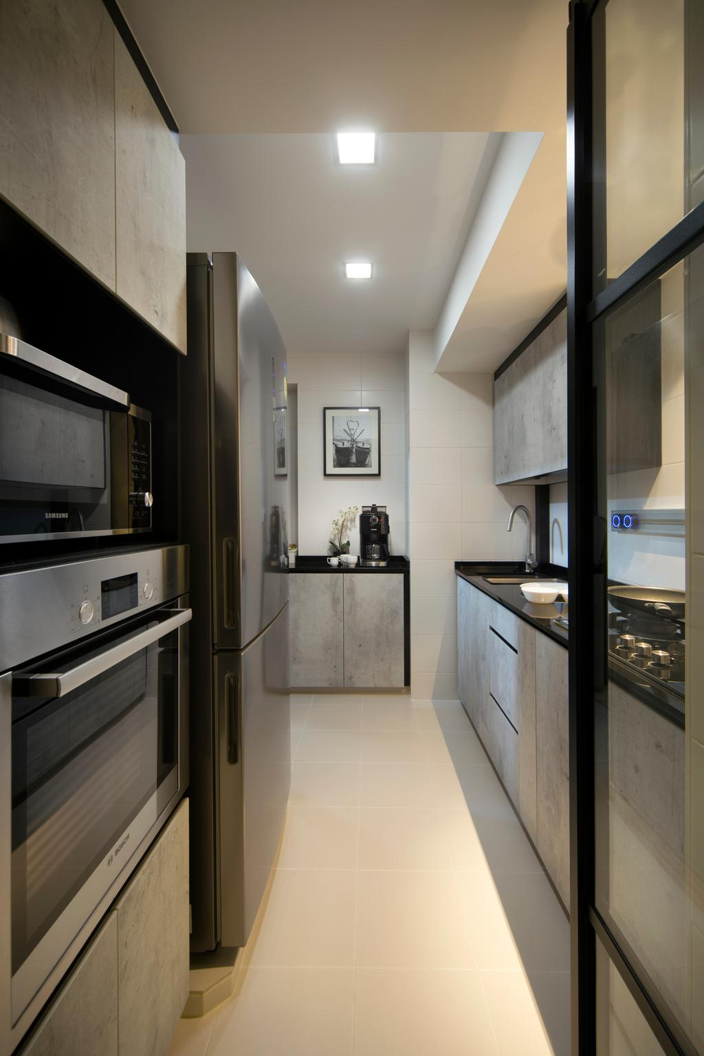 Contemporary, HDB, Kitchen, SkyTerrace @ Dawson, Interior Designer, Form & Space, Appliance, Electrical Device, Microwave, Oven, Indoors, Interior Design, Room
