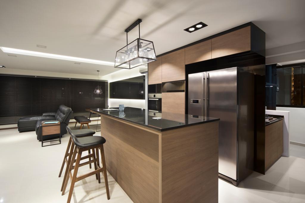 Minimalistic, HDB, Kitchen, Edgedale Plains (Block 121), Interior Designer, Form & Space, Building, Housing, Indoors, Loft, Chair, Furniture