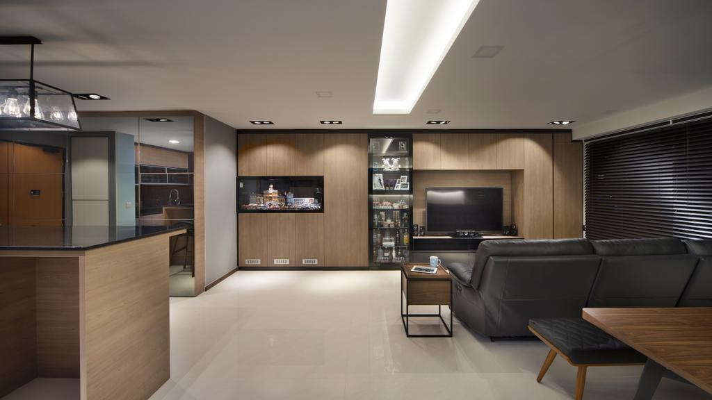 Minimalistic, HDB, Living Room, Edgedale Plains (Block 121), Interior Designer, Form & Space, Door, Sliding Door, Desk, Furniture, Table, Chair, Closet, Wardrobe