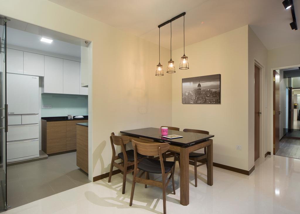 Minimalistic, HDB, Dining Room, Boon Lay Avenue (Block 218C), Interior Designer, Form & Space, Scandinavian, Dining Table, Furniture, Table, Indoors, Interior Design, Room, Art, Art Gallery