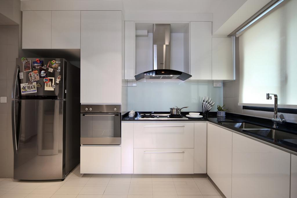 Scandinavian, HDB, Yishun Street 31 (Block 334B), Interior Designer, Form & Space, Indoors, Interior Design, Kitchen, Room, Appliance, Electrical Device, Oven, Fridge, Refrigerator