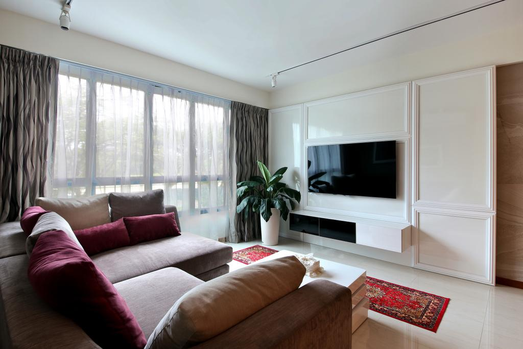 Scandinavian, HDB, Living Room, Yishun Street 31 (Block 334B), Interior Designer, Form & Space, Flora, Jar, Plant, Potted Plant, Pottery, Vase, Couch, Furniture, Curtain, Home Decor, Indoors, Room, Electronics, Entertainment Center