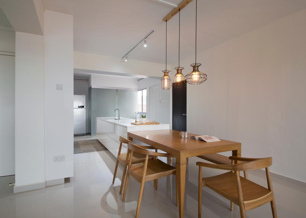 Contemporary, HDB, Tampines Street 45 (Block 491C), Interior Designer, Form & Space, Minimalistic, Chair, Furniture, Dining Room, Indoors, Interior Design, Room, Dining Table, Table