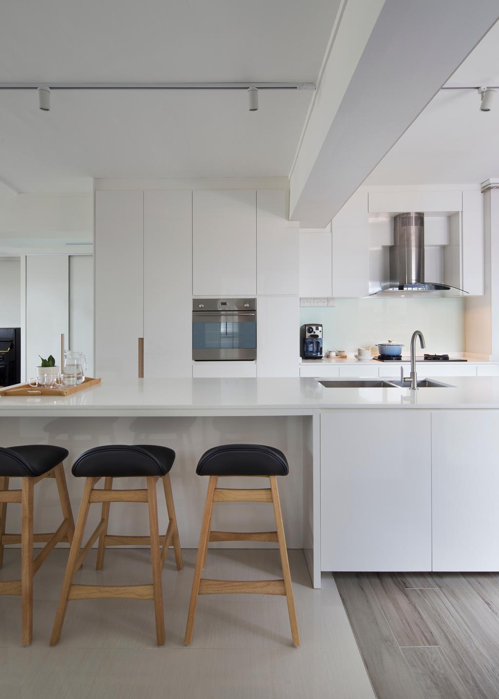 Contemporary, HDB, Kitchen, Tampines Street 45 (Block 491C), Interior Designer, Form & Space, Minimalistic, Kitchen Island, Bar Stool, Furniture, Indoors, Interior Design, Room, Chair, Sink