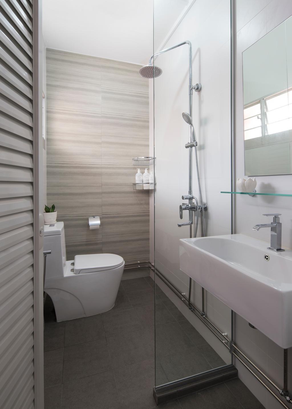 Contemporary, HDB, Bathroom, Tampines Street 45 (Block 491C), Interior Designer, Form & Space, Minimalistic, Toilet, Indoors, Interior Design, Room