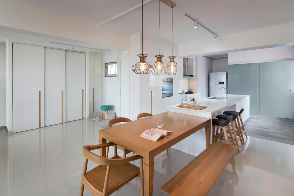 Contemporary, HDB, Dining Room, Tampines Street 45 (Block 491C), Interior Designer, Form & Space, Minimalistic, Kitchen Island, Open Concept, Light Fixture, Indoors, Interior Design, Room, Chair, Furniture, Dining Table, Table