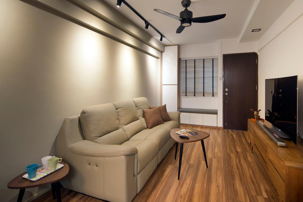 Contemporary, HDB, Living Room, Ang Mo Kio (Block 503), Interior Designer, Form & Space, Couch, Furniture, Flooring, Indoors, Interior Design, Light Fixture, Dining Table, Table