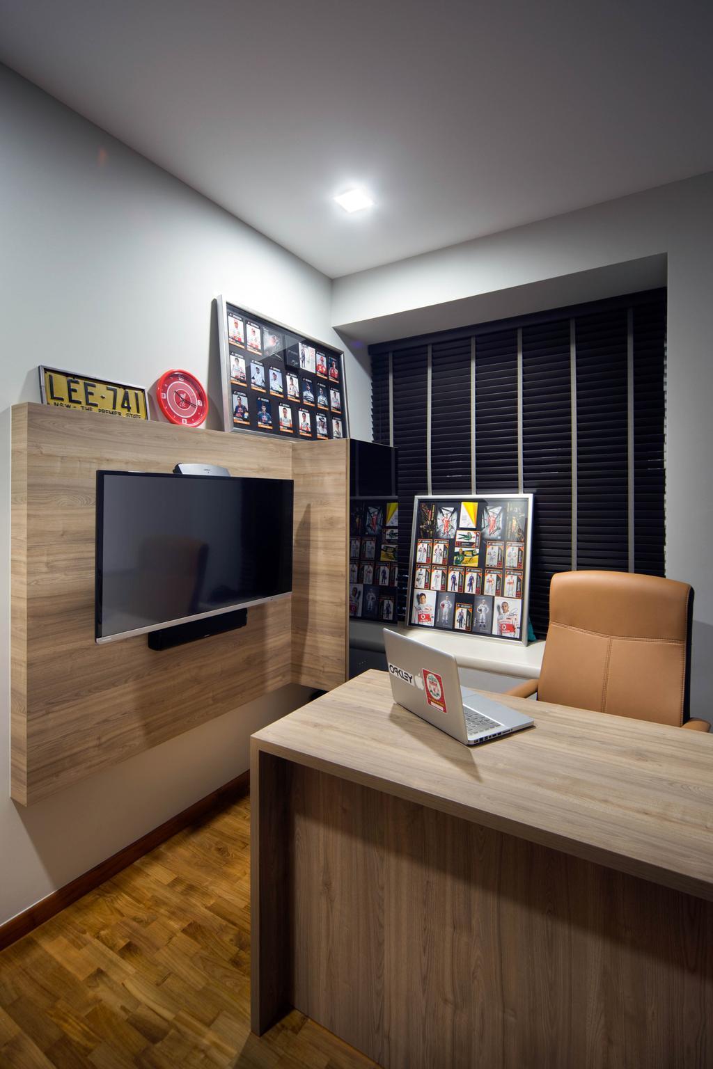 Contemporary, Condo, Study, Mi Casa, Interior Designer, Form & Space, Electronics, Lcd Screen, Monitor, Screen, Entertainment Center, Chair, Furniture