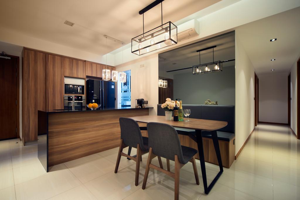 Contemporary, Condo, Dining Room, Mi Casa, Interior Designer, Form & Space, Corridor, Dining Table, Furniture, Table, Indoors, Interior Design, Room, Flooring, Chair