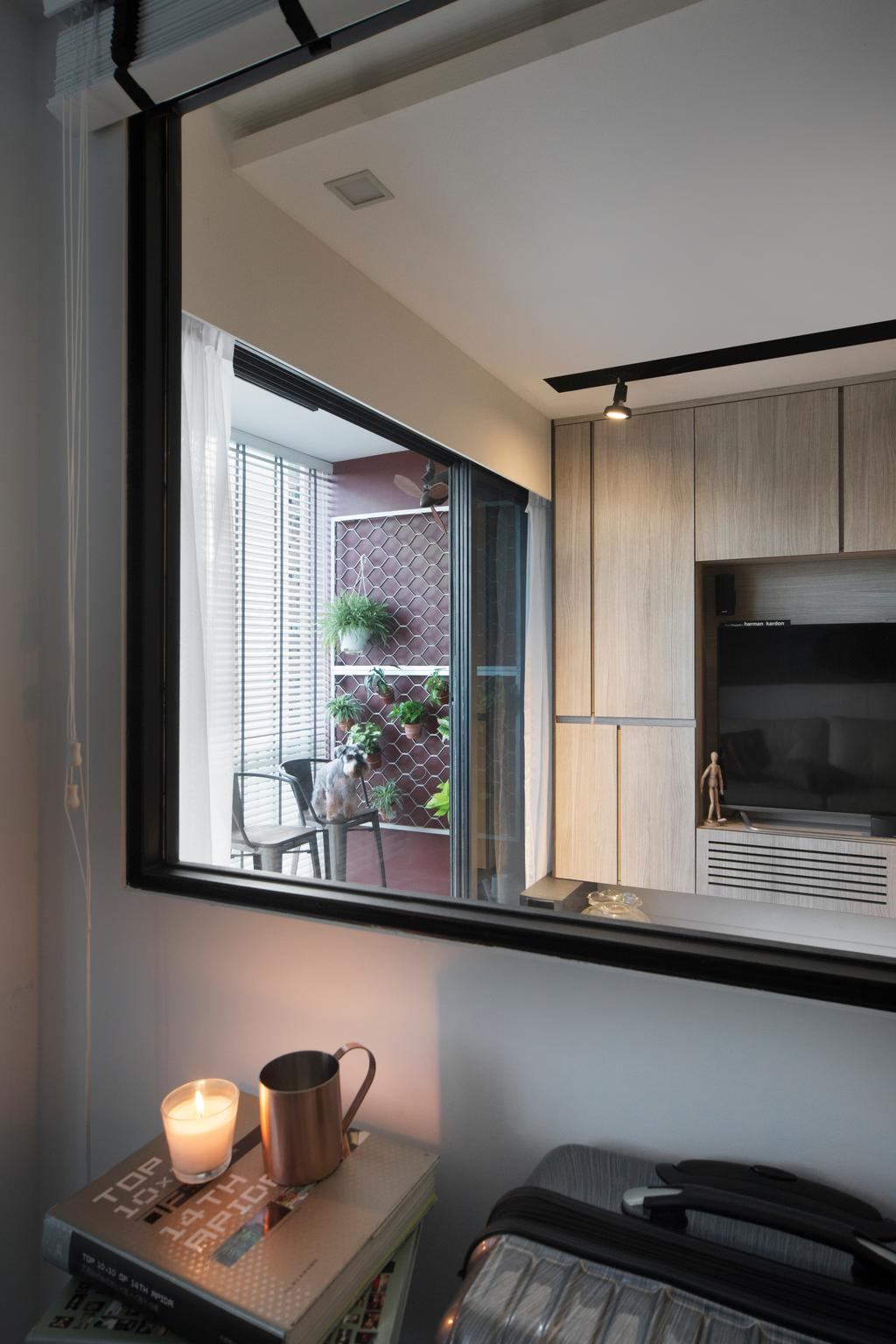 Contemporary, Condo, RiverParc Residence, Interior Designer, Form & Space, Window, Appliance, Electrical Device, Microwave, Oven, Fireplace, Hearth