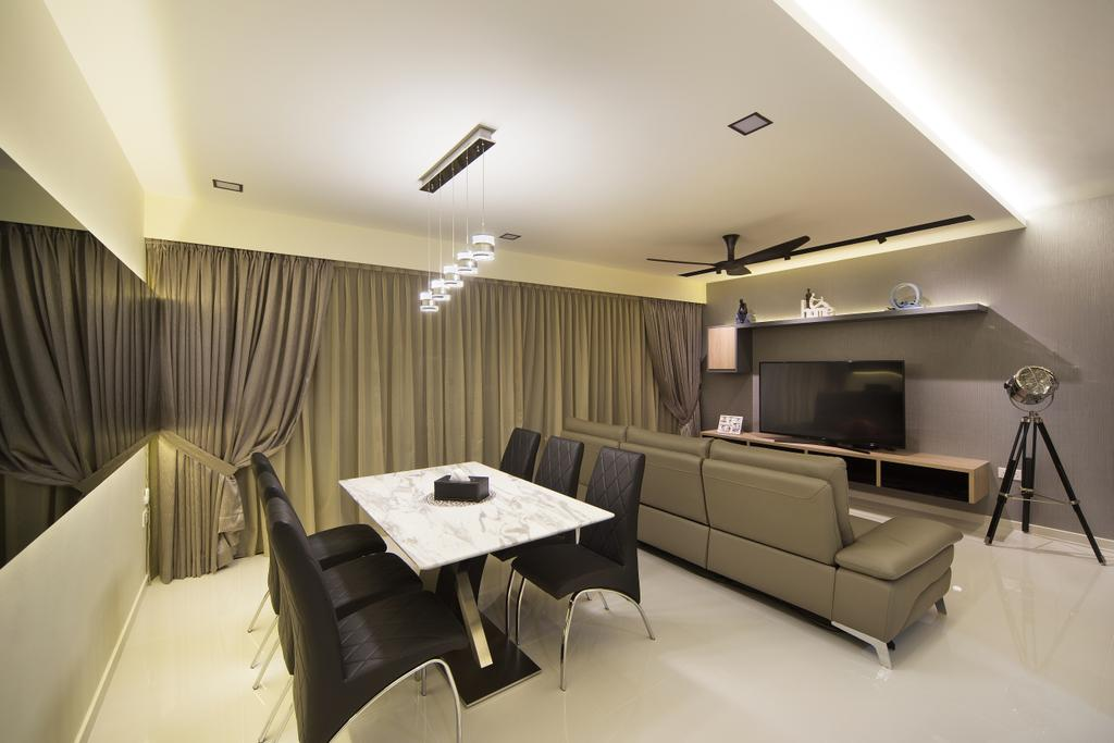 Transitional, Condo, Dining Room, Skypark Residence, Interior Designer, Form & Space, Paper, Indoors, Room, Interior Design, Chair, Furniture, Couch, Electronics, Entertainment Center, Home Theater