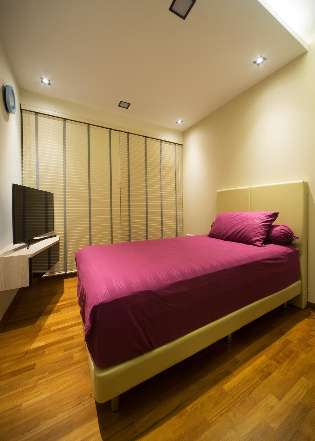 Transitional, Condo, Bedroom, Skypark Residence, Interior Designer, Form & Space, Banister, Handrail, Staircase, Bed, Furniture