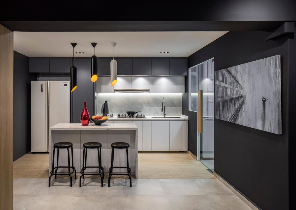 Modern, HDB, Dining Room, Geylang East Avenue 1, Interior Designer, Posh Home, Scandinavian, Bar Stool, Furniture, Chair