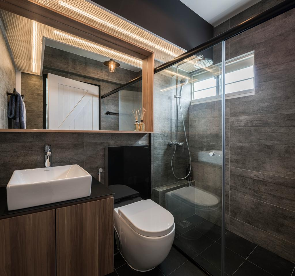 Industrial, HDB, Bathroom, Telok Blangah Street 31 (Block 80C), Interior Designer, Zenith Arc, Indoors, Interior Design, Room, Sink, Fireplace, Hearth