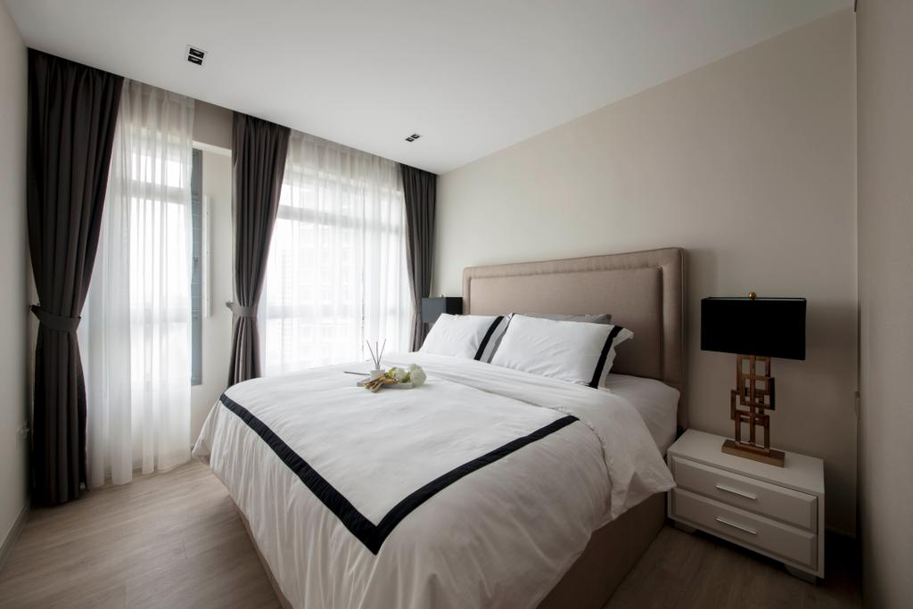 Contemporary, HDB, Bedroom, Punggol Way (Block 315B), Interior Designer, KDOT, Scandinavian, Bed, Furniture, Indoors, Interior Design, Room