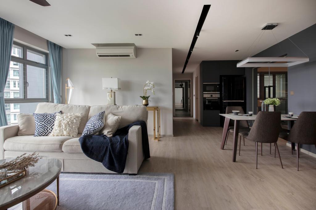 Contemporary, HDB, Living Room, Punggol Way (Block 315B), Interior Designer, KDOT, Scandinavian, Couch, Furniture, Dining Table, Table