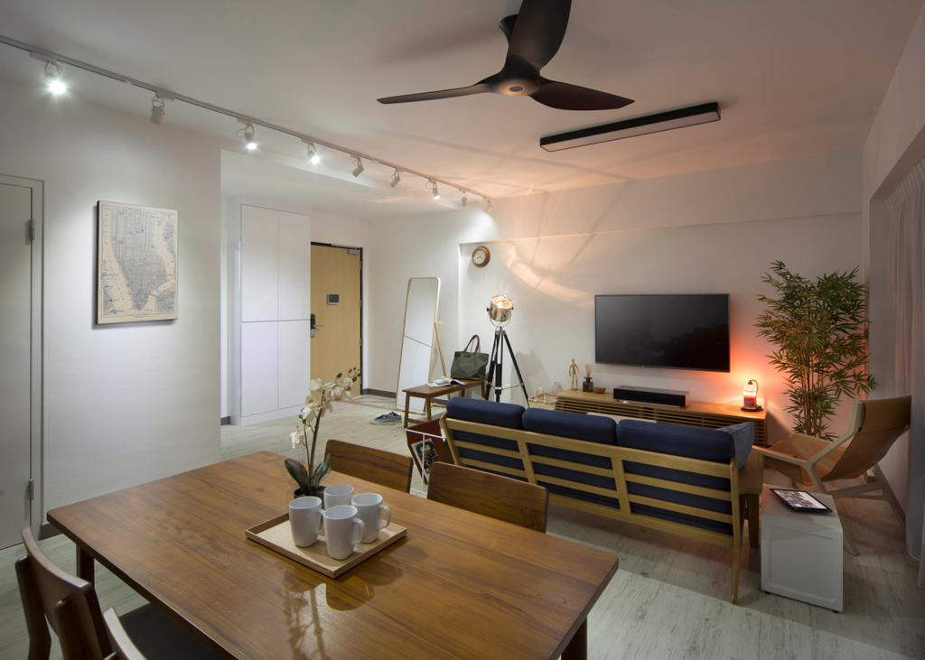 Contemporary, HDB, Living Room, SkyVille @ Dawson, Interior Designer, Form & Space, Flora, Jar, Plant, Potted Plant, Pottery, Vase, Dining Table, Furniture, Table, Electronics, Entertainment Center, Home Theater, Chair, Indoors, Interior Design, Room, Dining Room