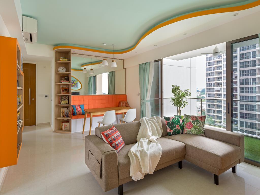 Eclectic, Condo, Living Room, Kovan Regency, Interior Designer, Free Space Intent, Couch, Furniture, Indoors, Interior Design, Balcony