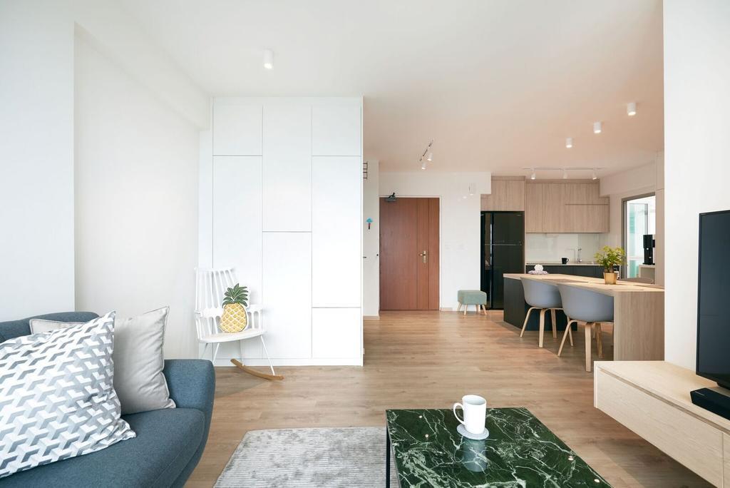 Scandinavian, HDB, Living Room, Ang Mo Kio Street 44 (Block 455C), Interior Designer, Charlotte's Carpentry, Indoors, Interior Design, Dining Table, Furniture, Table