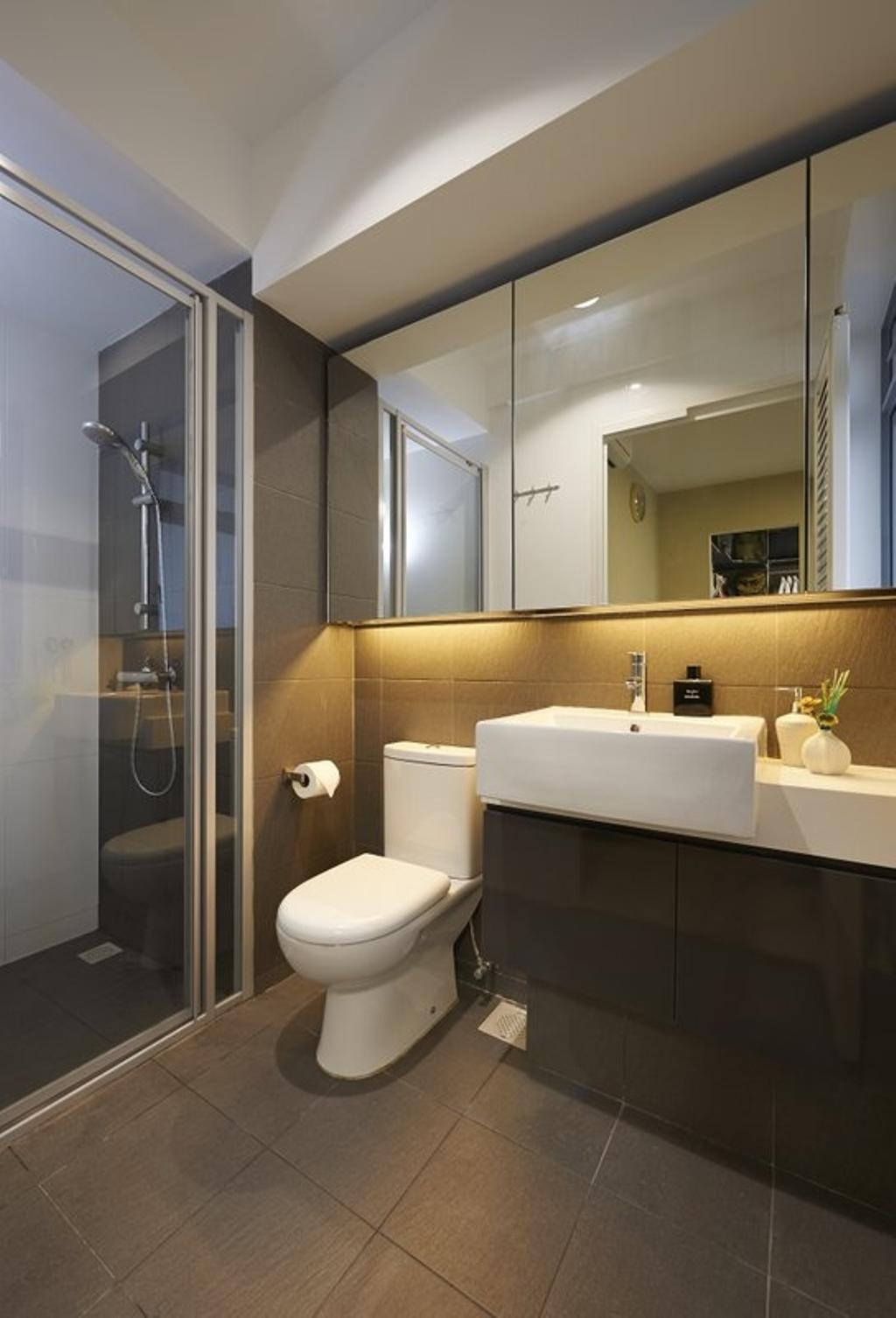 Contemporary, HDB, Bathroom, Pasir Ris One, Interior Designer, Spire Id, Bathroom Vanity, Bathroom Sink, Mirror, Shower, Shower Area, Shower Head, Bathroom Tiles, Sink, Toilet, Indoors, Interior Design, Room