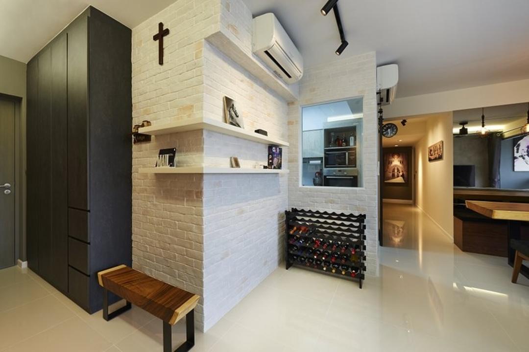 Pasir Ris One, Spire Id, Contemporary, Living Room, HDB, Brick Walls, White Brick Wall, Shelves, Shelving, Shoe Cabinet, Shoe Rack, Hallway, Corridor, Sink
