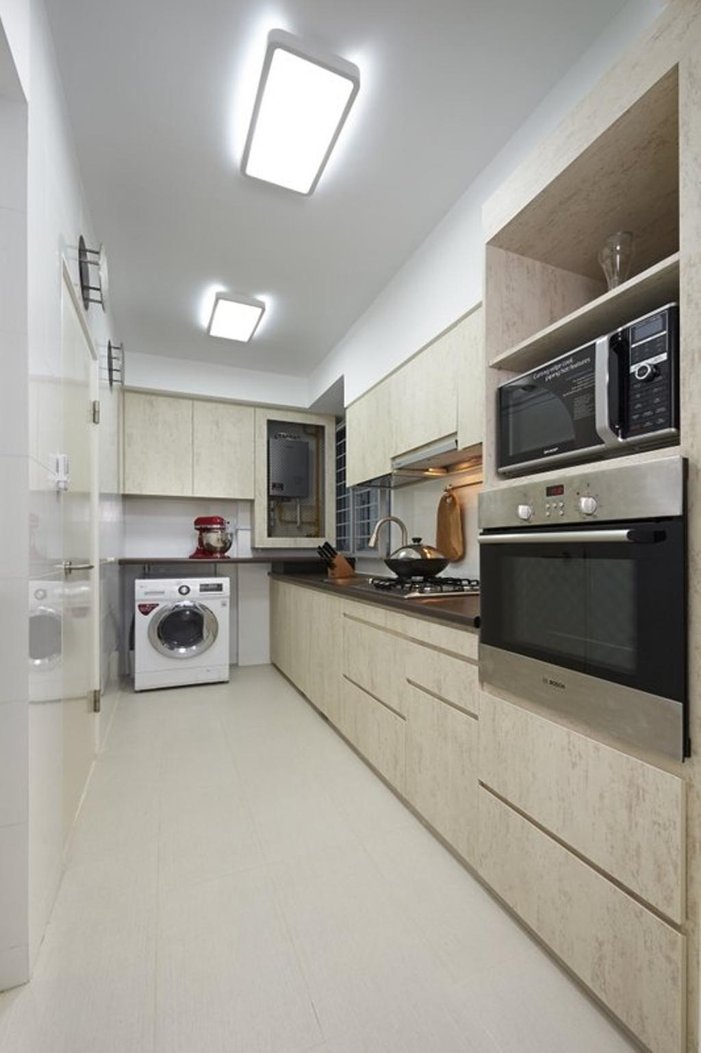 Contemporary, HDB, Kitchen, Pasir Ris One, Interior Designer, Spire Id, Washing Machine, Laundry, Oven, Microwave, Kitchen Cabinets, Cabinetry, Wood, Appliance, Electrical Device