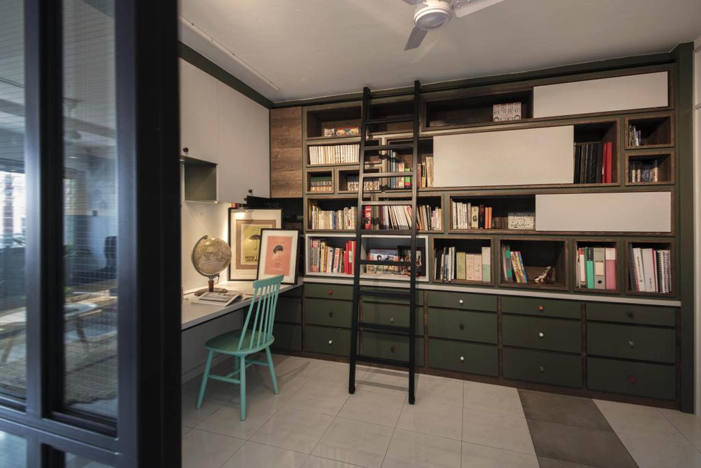 Eclectic, HDB, Study, Toa Payoh Lorong 3, Interior Designer, Hall Interiors, Bookcase, Furniture, Chair