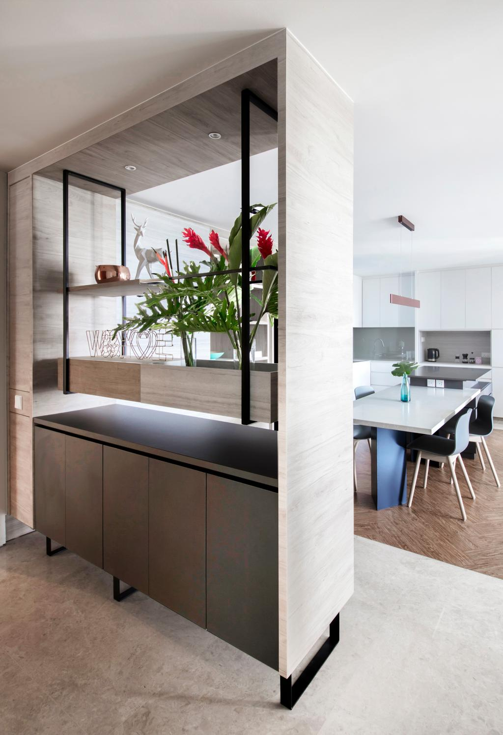 Contemporary, Condo, Dining Room, Silversea, Interior Designer, Hall Interiors, Dining Table, Furniture, Table, Flora, Jar, Plant, Potted Plant, Pottery, Vase, Indoors, Interior Design, Kitchen, Room